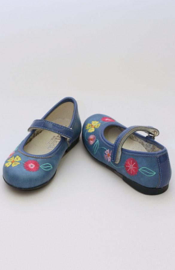 Balerini fete piele culoare albastra cu flori 1