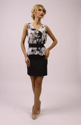 Bluza dama alb cu negru 0S012