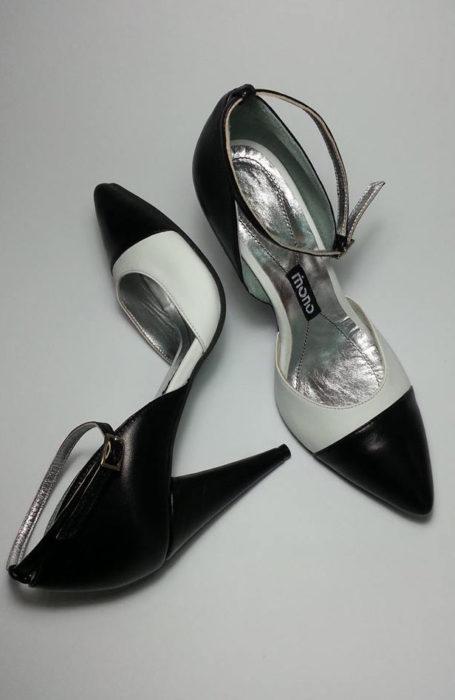 Pantofi dama alb-negru