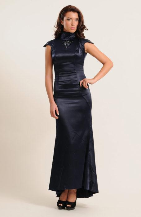 Rochie de seara sirena albastra cu aplicatii