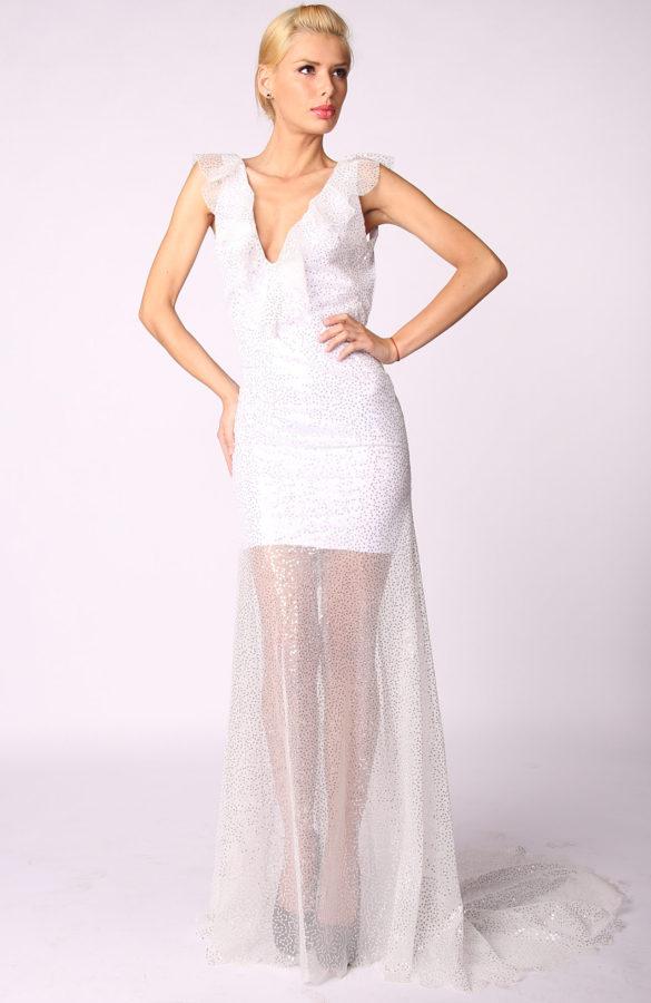 Rochie eleganta cu paiete argintii 1