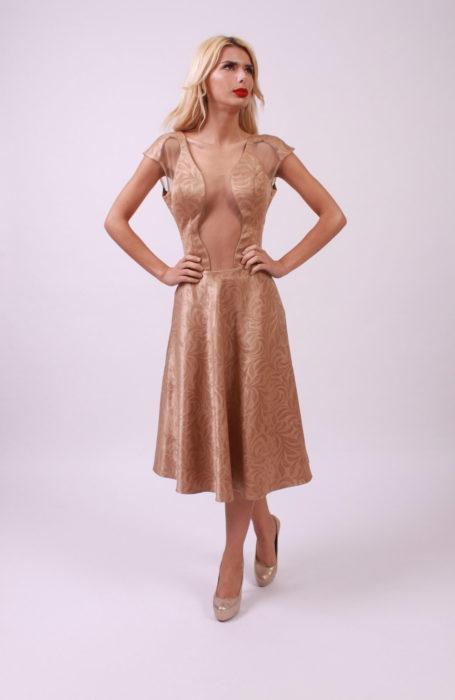 Rochie eleganta de ocazie din brocard crem- Unicat