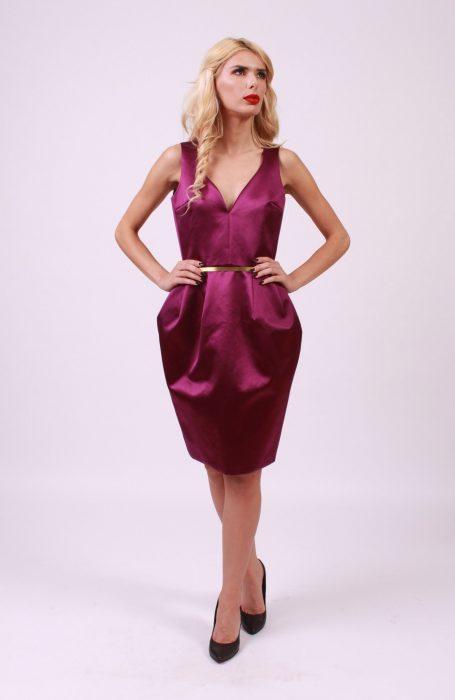 Rochie eleganta din matase naturala cu curea in talie