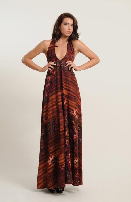 Rochie eleganta din stofa cu imprimeu