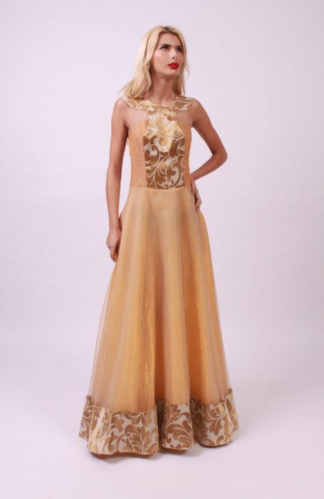 Rochie eleganta lunga din organza si brocard