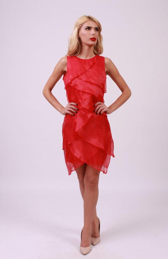 Rochie eleganta rosie de ocazie 1
