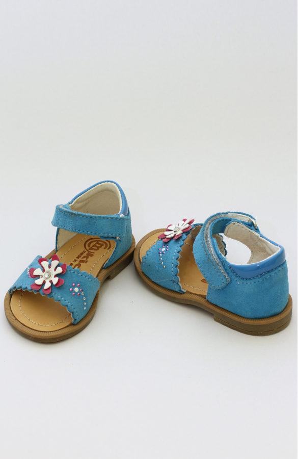 Sandale fete albastre cu flori 1
