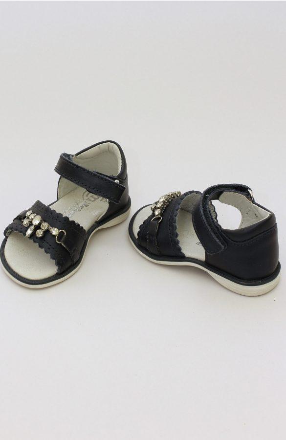 Sandale fete negre cu aplicatii pietre 1