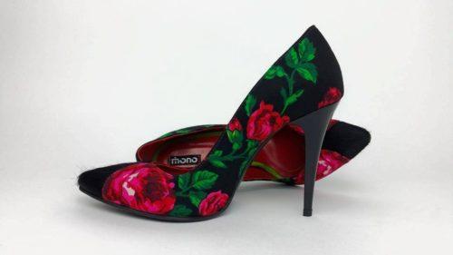 Pantofi dama cu toc cu trandafiri