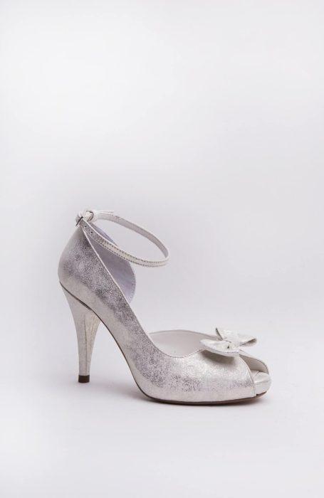 Pantofi mireasa argintii