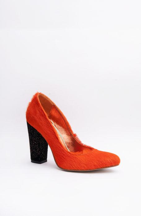 Pantofi portocalii piele ponei