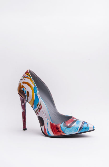 Pantofi dama stiletto pictati manual
