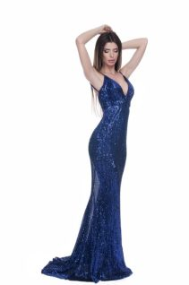 Rochie paiete lunga albastra