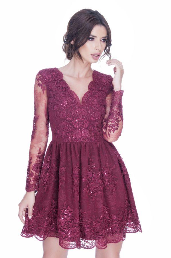 rochie-dantela-burgund-de-ocazie