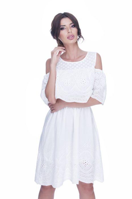 rochie de zi alba bumbac