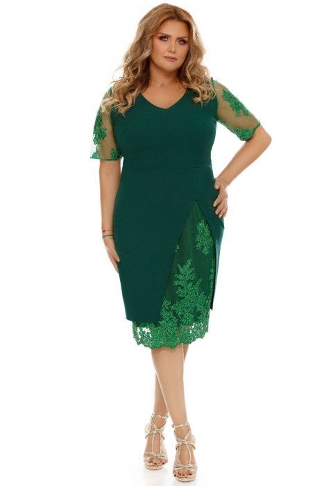 Rochie de ocazie xxl Felicia verde cu dantela
