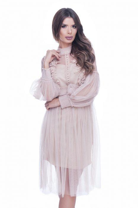 Rochie de ocazie dantela roz prafuit