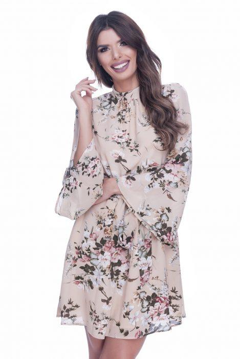 Rochie eleganta de zi crem cu imprimeu floral