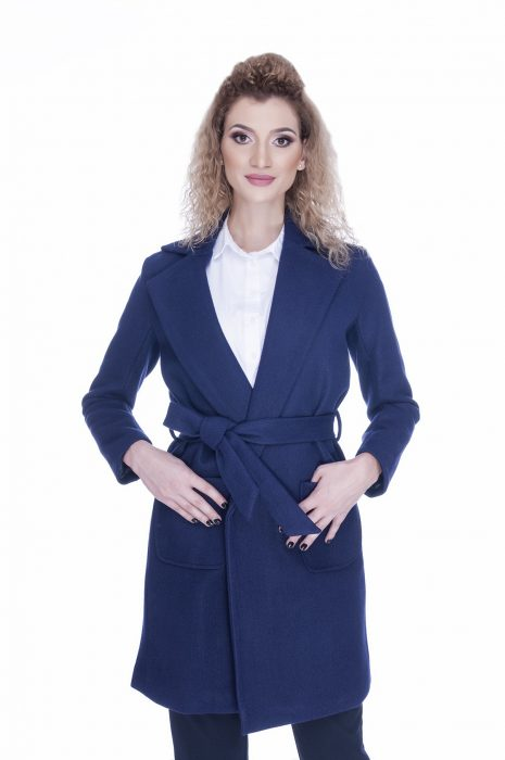 Palton dama elegant bleu