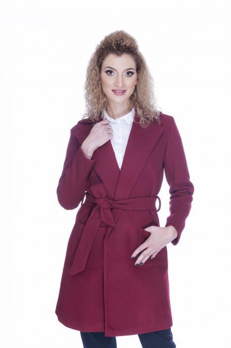 Palton dama elegant burgund
