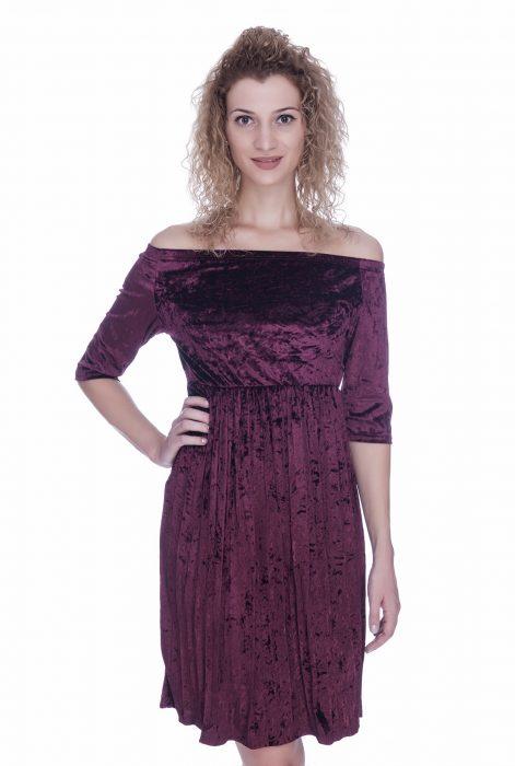 Rochie de catifea midi burgund