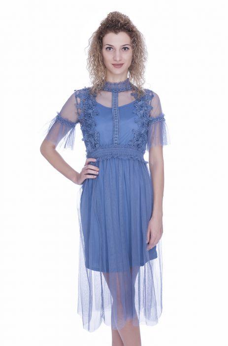 Rochie de ocazie bleu cu maneca scurta