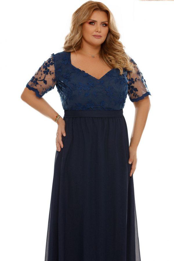 rochie-de-ocazie-lunga-xxl-Deborah-bleu-cu-dantela