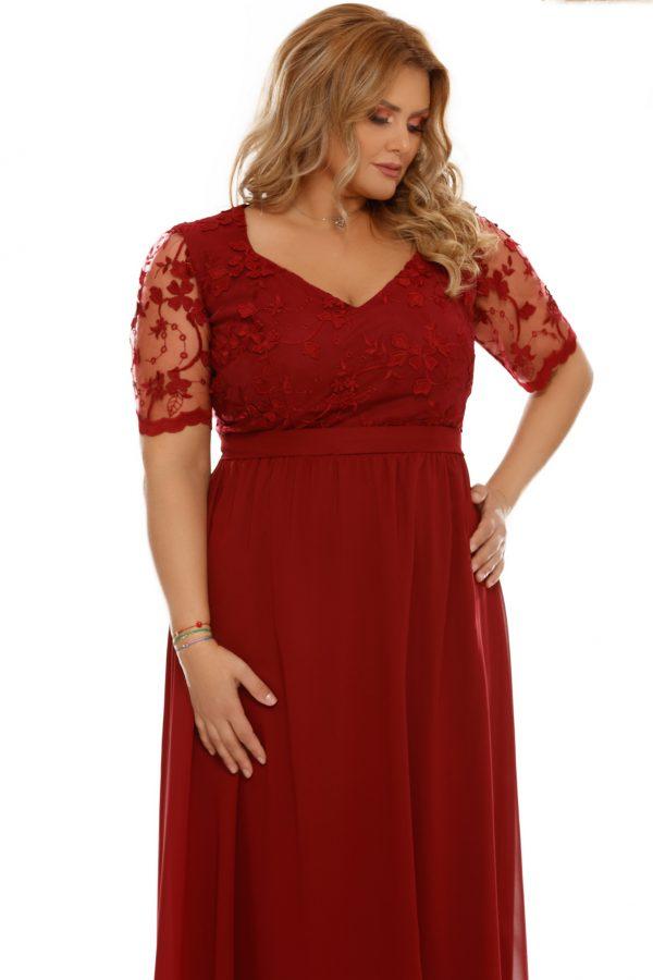 rochie-de-ocazie-lunga-xxl-Deborah-rosie-cu-dantela (2)