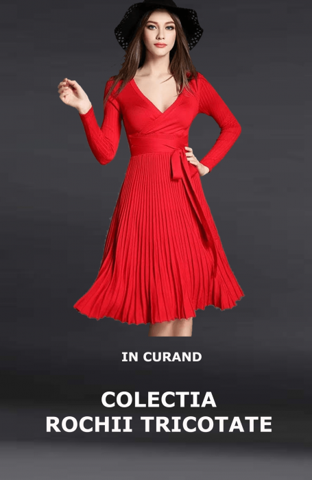 Rochie de iarna eleganta tricotata rosie