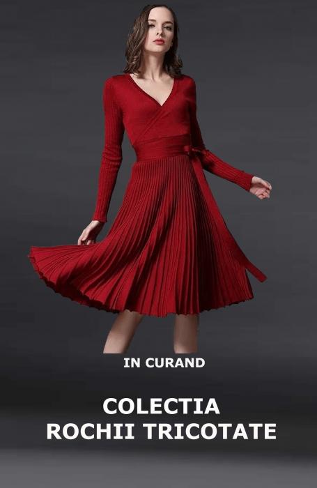 Rochie eleganta de zi tricotata burgund