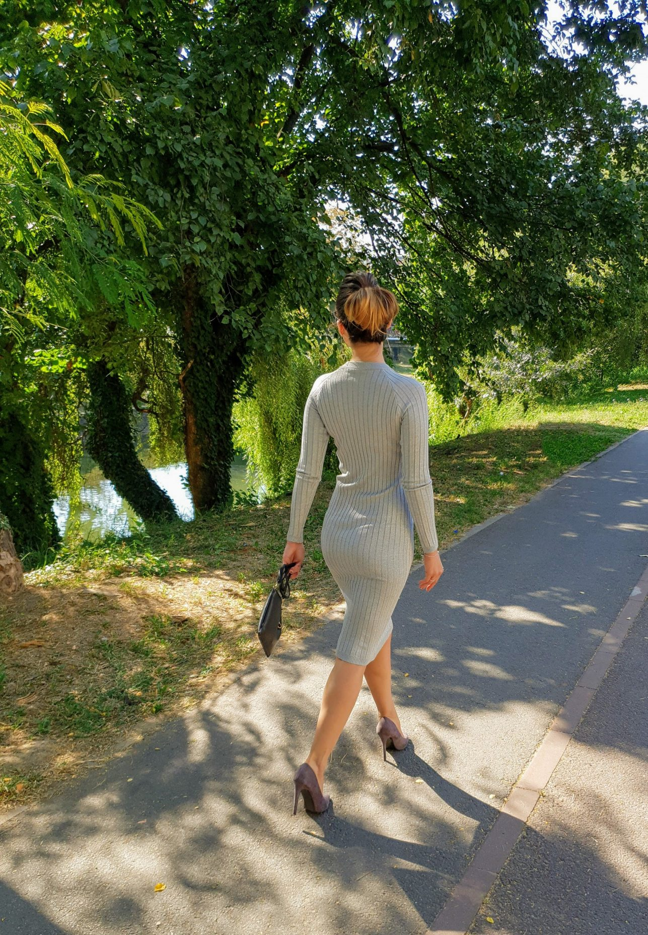 Rochie tricotata gri eleganta