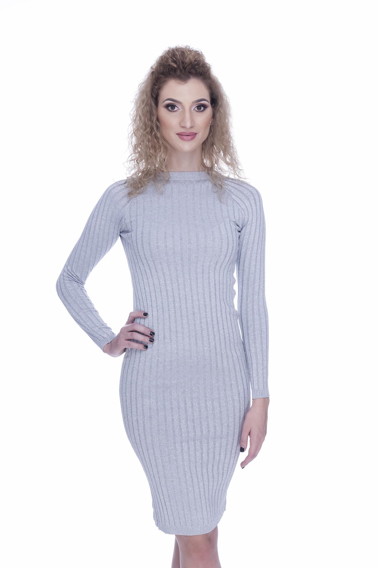 farmecul costurilor reducere uriașă produse de calitate Rochie tricotata gri eleganta | MyFashionizer