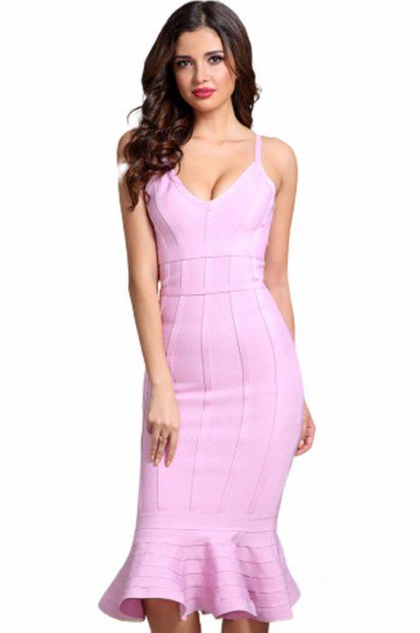 Rochie de ocazie bandage midi roz