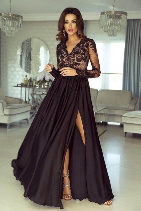 Rochie de ocazie din dantela lunga neagra