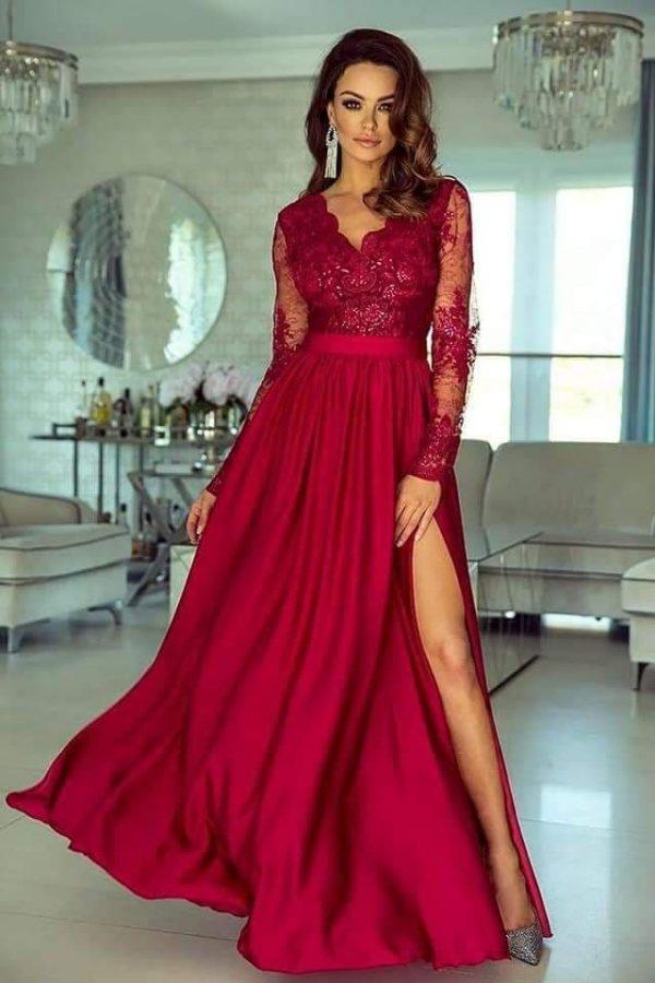 rochie-de-ocazie-din-dantela-lunga-rosie
