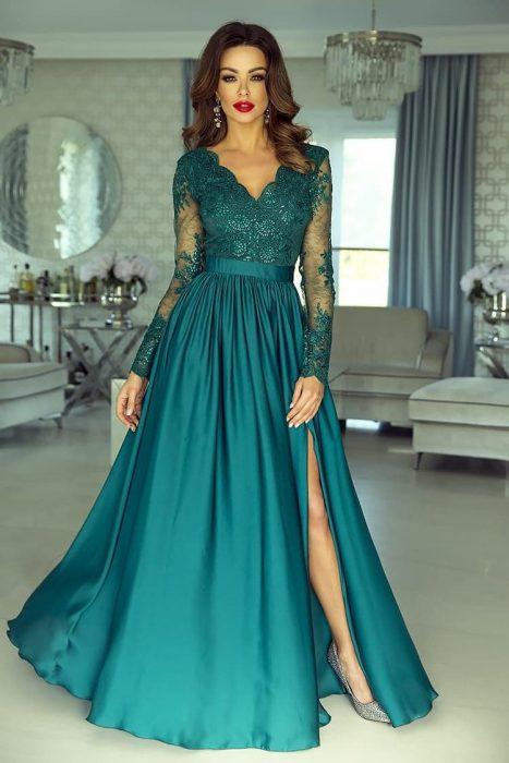Rochie de ocazie din dantela lunga verde