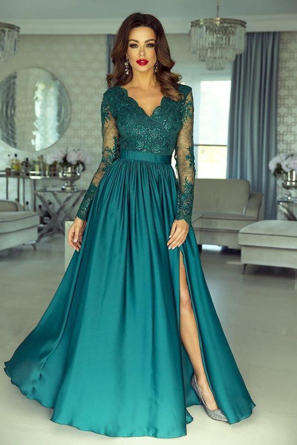 rochie-de-ocazie-din-dantela-lunga-verde