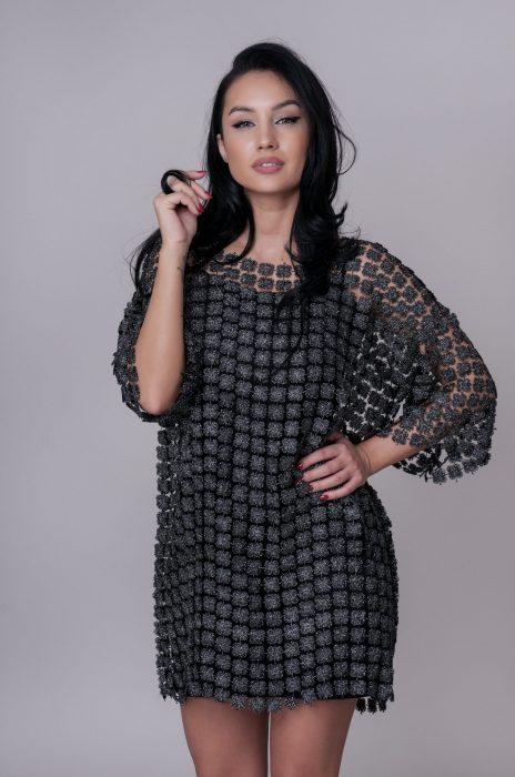 Rochie de ocazie midi neagra pentru nunta, botez sau banchet din magazinul online Myfashionizer.
