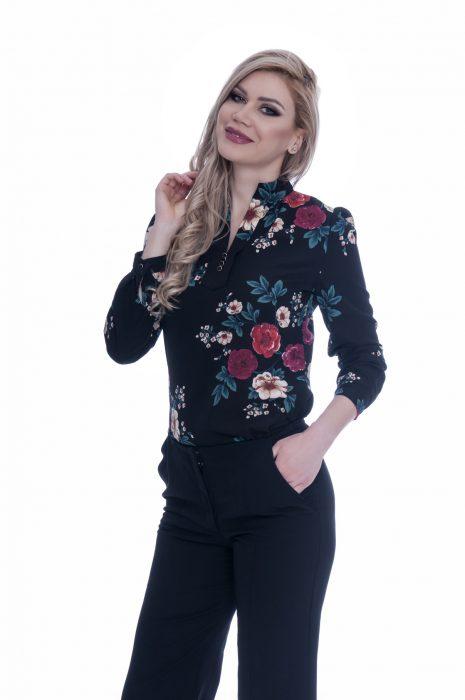 Camasa dama eleganta neagra cu flori