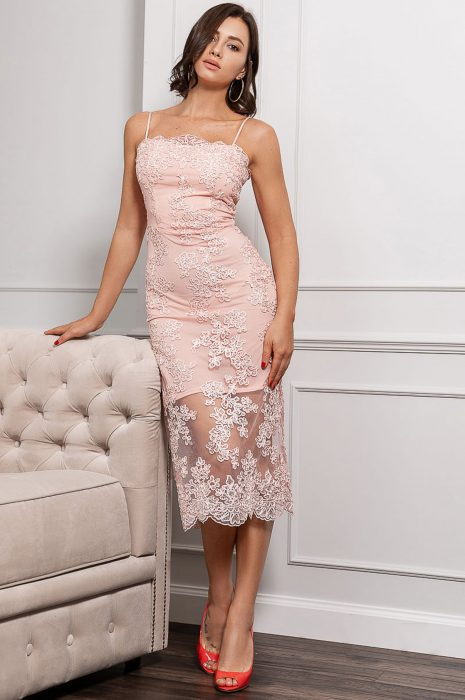 Rochie dantela eleganta roz