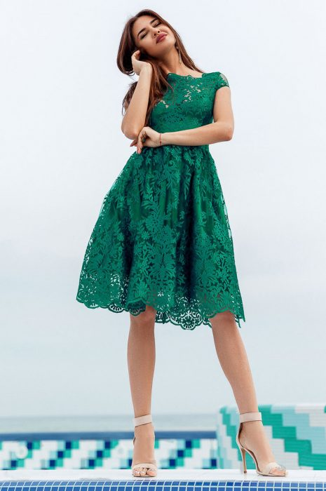 Rochie baby doll eleganta verde
