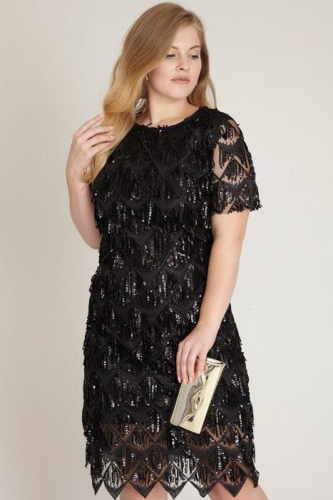 Rochie eleganta paiete midi neagra