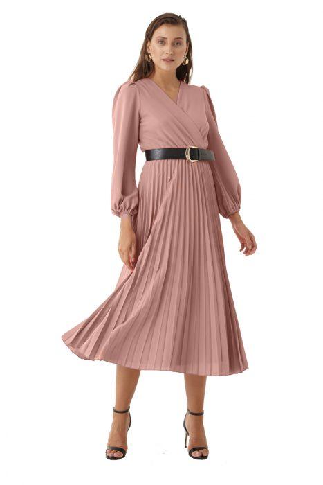 Rochie plisata midi roz prafuit pentru tinute office de la Myfashionizer