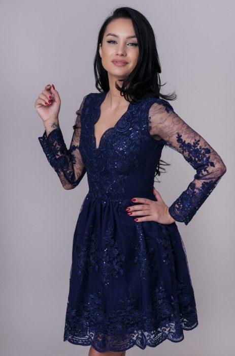 Rochie de ocazie albastra din dantela pentru nunta, botez sau banchet de la Myfashionizer