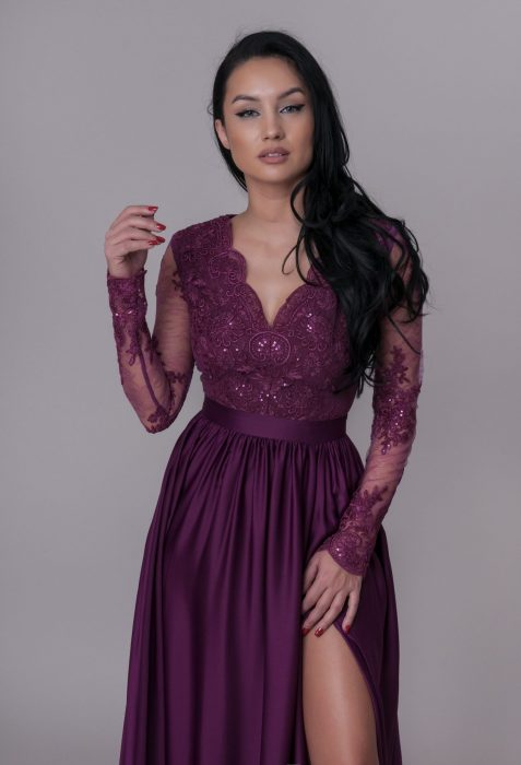 Rochie de ocazie violet pentru nunta, botez sau banchet din magazinul online Myfashionizer