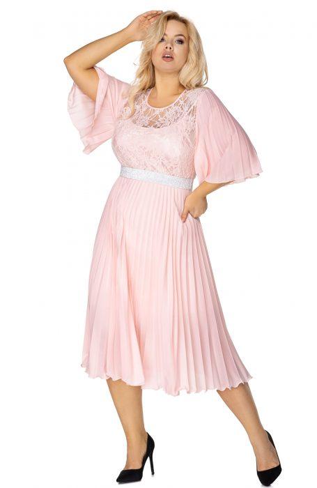 Rochie eleganta de ocazie plisata midi pentru nunta sau botez