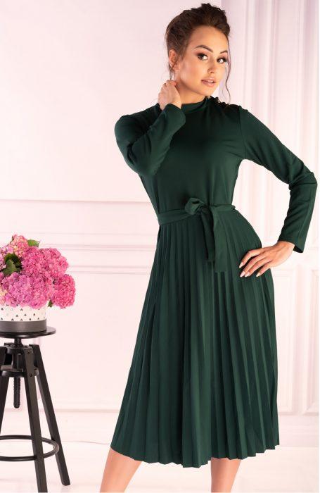 Rochie de zi eleganta verde pentru birou sau o iesire in oras.