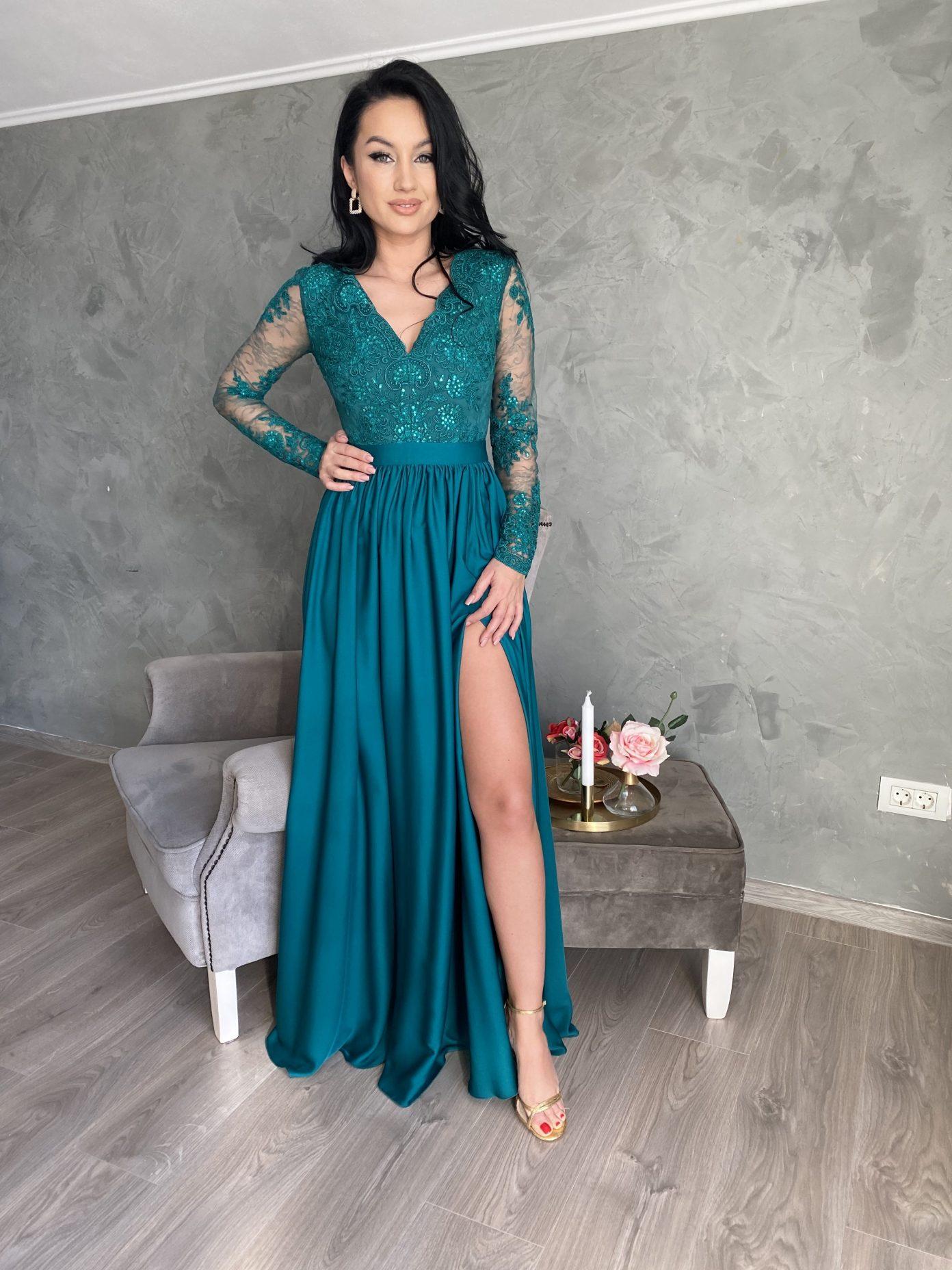 Rochie de ocazie din dantela verde
