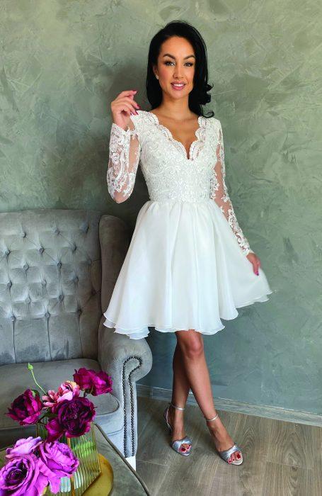 Rochie cununie civila alba midi cu dantela pentru nunta