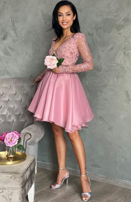 Rochie bab doll eleganta roz midi pentru banchet, botez sau cununia civila din Colectia de Rochii Myfashionizer.